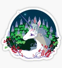 .The unicorn lived in a lilac wood. Sticker