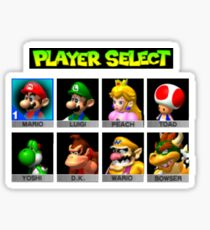 Player Select Mario Kart N64 Sticker