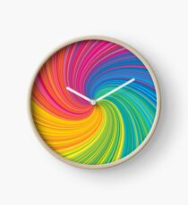 Vortex Whirlpool Swirling Rainbow Clock