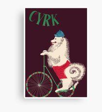 1965 Cyrk Cycling Dog Polish Circus Poster Canvas Print