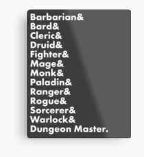 Lámina metálica Clases de Dungeons & Dragons