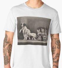 Whoa there Mr Pony! Three kittens in a toy horse cart and dog leading Men's Premium T-Shirt
