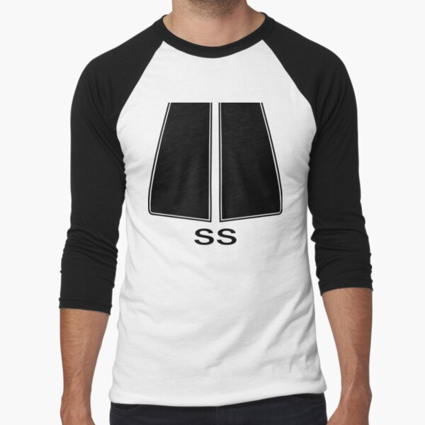 72 Chevelle SS Stripes (Black) Baseball ¾ Sleeve T-Shirt