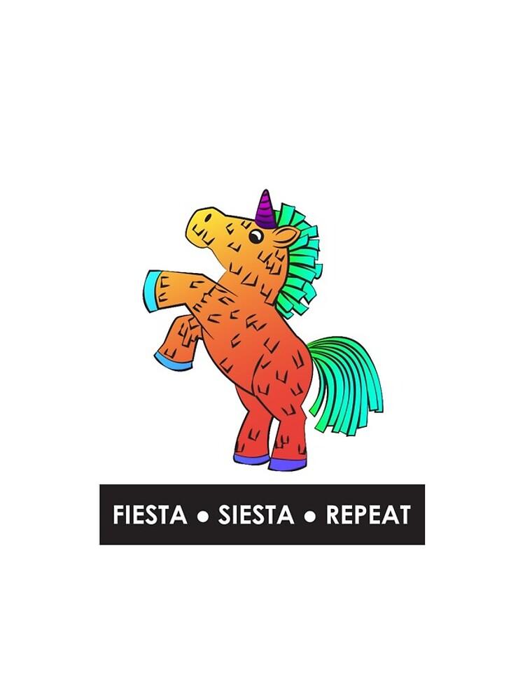 Fiesta, Siesta, Repeat with Unicorn Piñata (Orange) by Kristina-Thalin