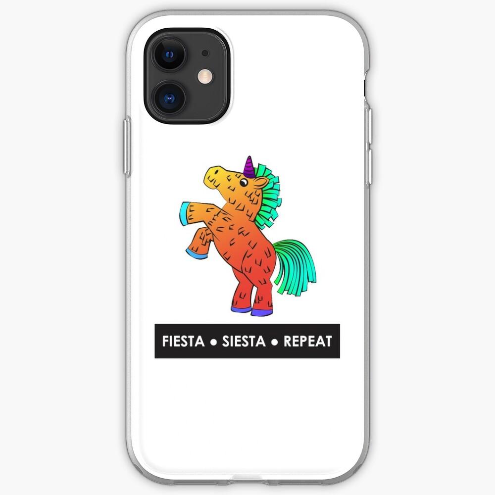 Fiesta, Siesta, Repeat with Unicorn Piñata (Orange) iPhone Case & Cover