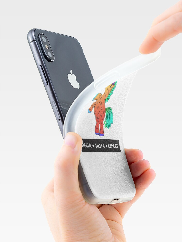 Alternate view of Fiesta, Siesta, Repeat with Unicorn Piñata (Orange) iPhone Case & Cover