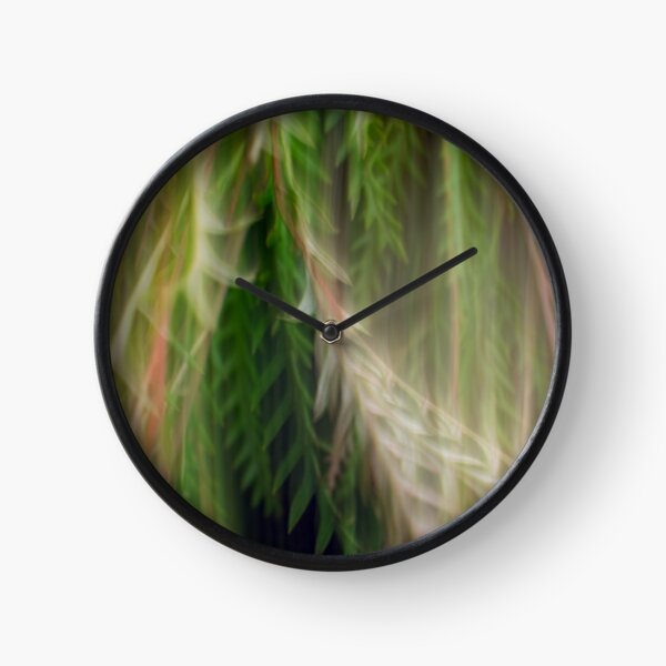Fleur Blur Series-Abstract Decorative Leaves Clock