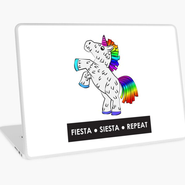 Fiesta, Siesta, Repeat with Unicorn Piñata (White and Rainbow) Laptop Skin