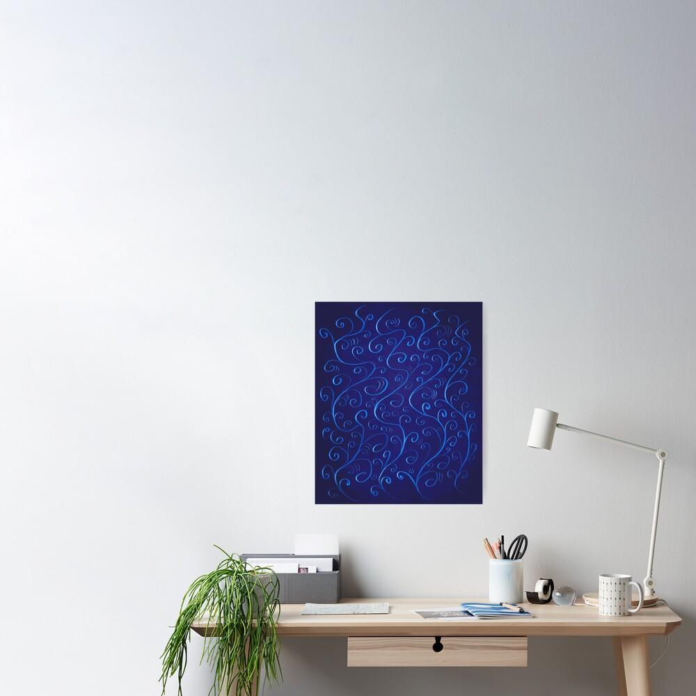 Beautiful Glowing Blue Swirls Poster