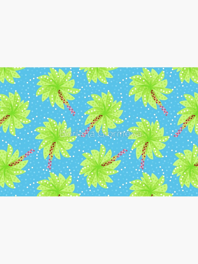 Blue Dots And Palm Trees Pattern by azzza