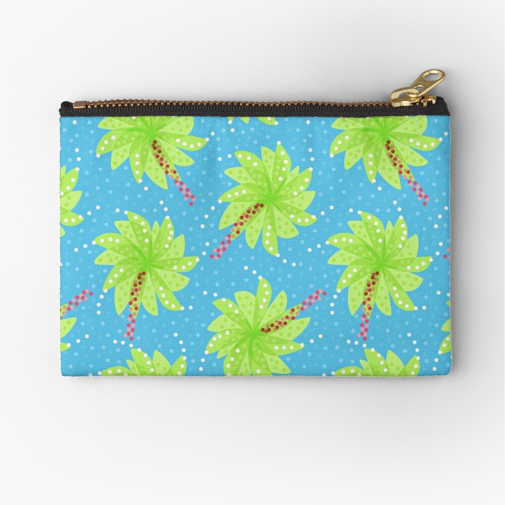 Blue Dots And Palm Trees Pattern Zipper Pouch