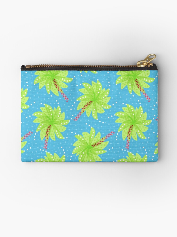 Blue Dots And Palm Trees Pattern by Boriana Giormova