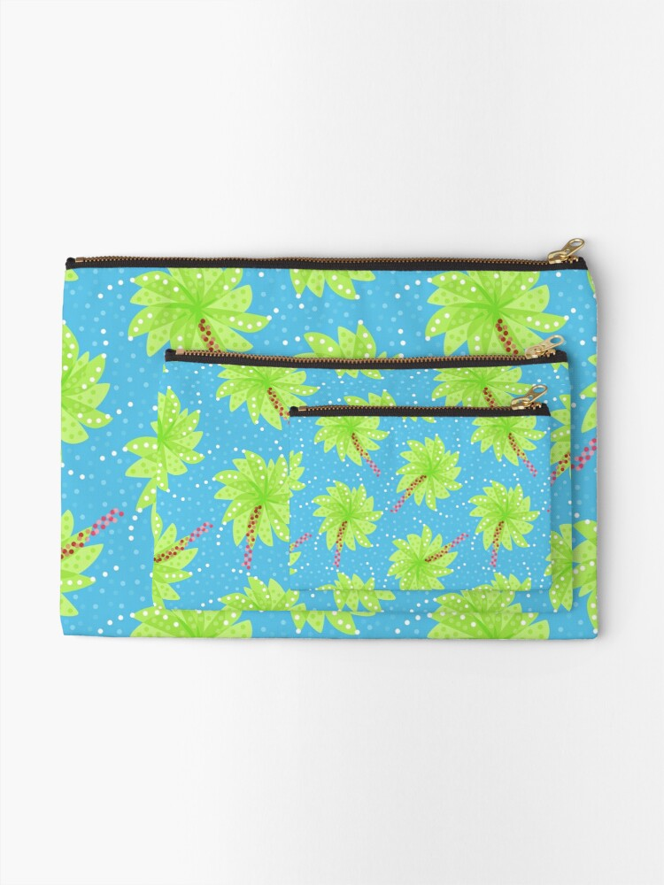 Alternate view of Blue Dots And Palm Trees Pattern Zipper Pouch