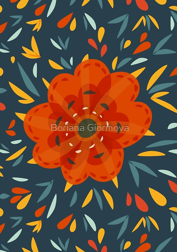 Decorative flower in orange yellow and blue art print at Redbubble