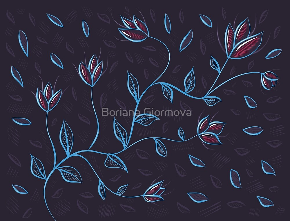 Glowing Abstract Flowers by Boriana Giormova