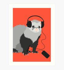 Funny Musical Ferret Art Print