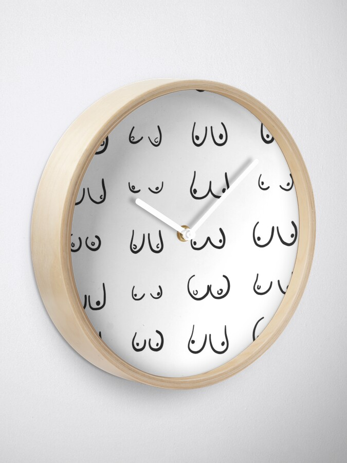 Alternate view of Boobs breasts pattern print Clock