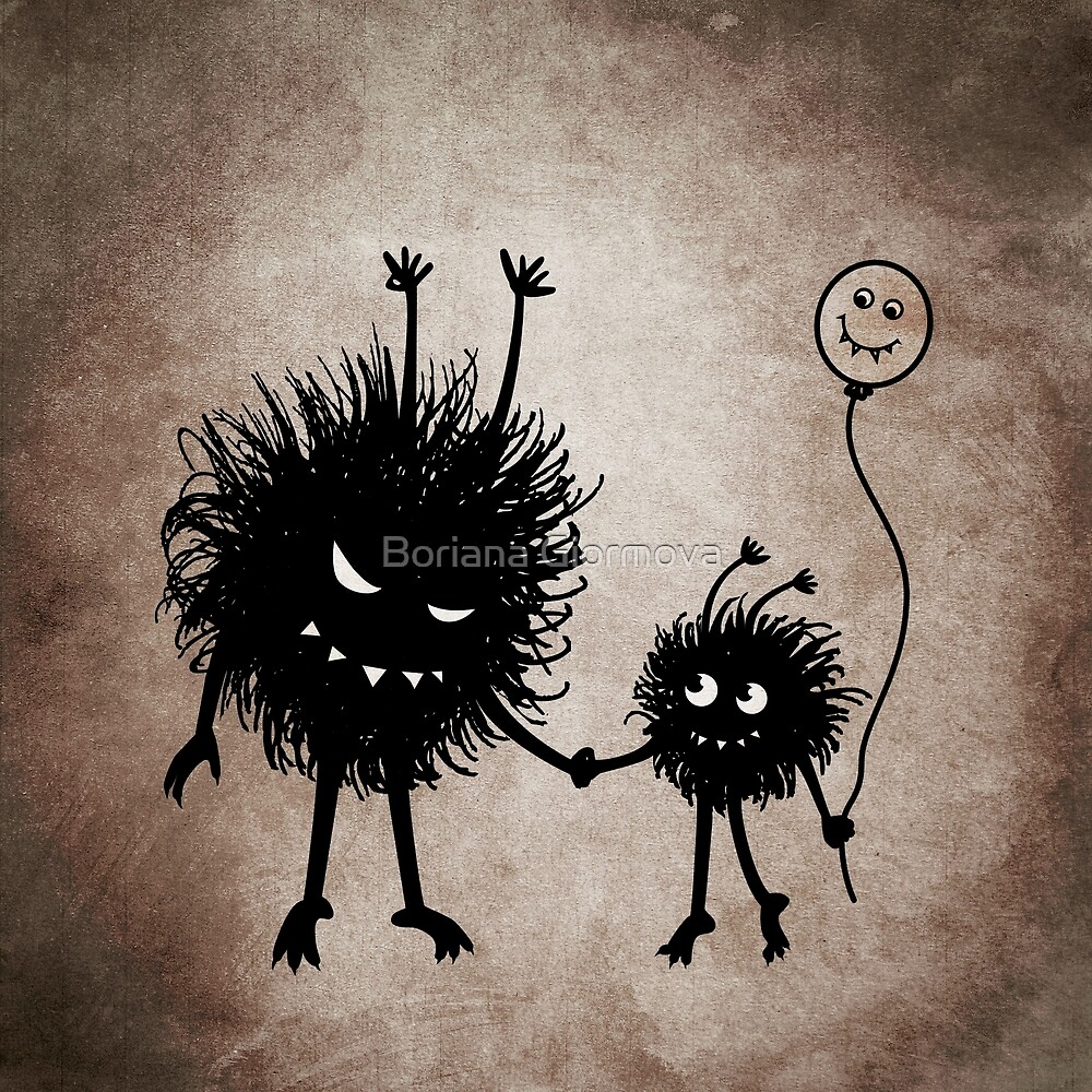 Evil Cartoon Bug Mother And Child by Boriana Giormova