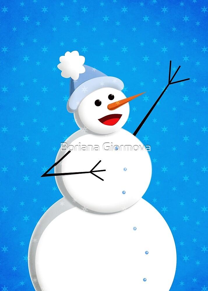 Blue Winter Happy Snowman by Boriana Giormova