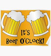 Beer O Clock Funny Oktoberfest Frothy Pint Glasses Poster