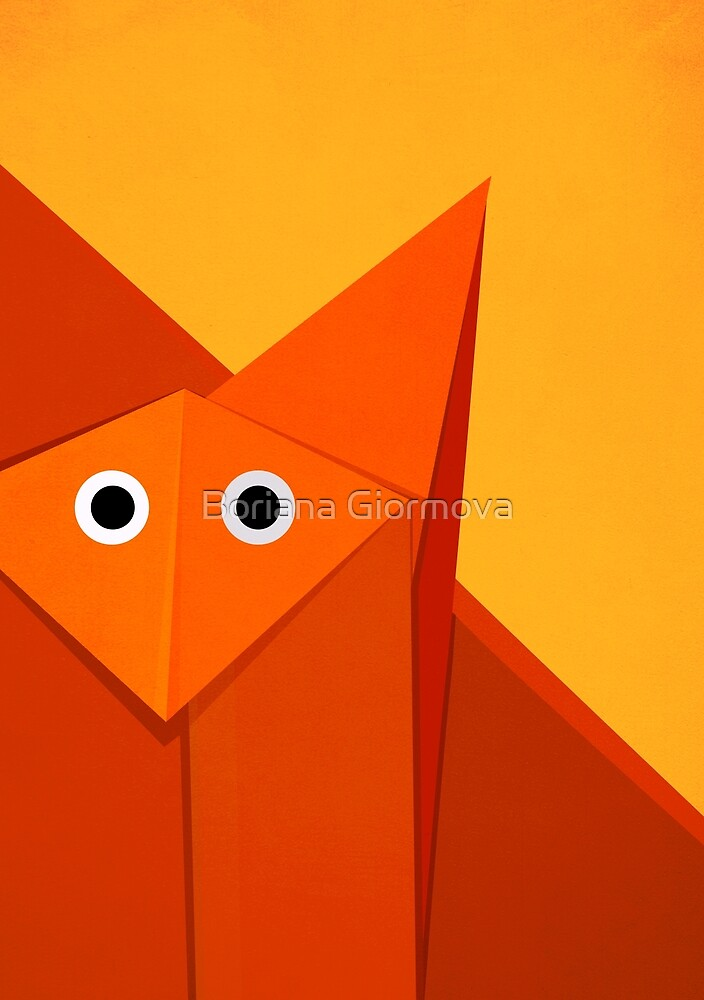 Yellow Geometric Cute Origami Fox by Boriana Giormova