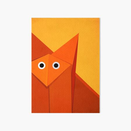 Yellow Geometric Cute Origami Fox Art Board Print