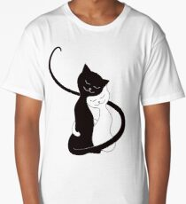 Blue White And Black Cats In Love Long T-Shirt