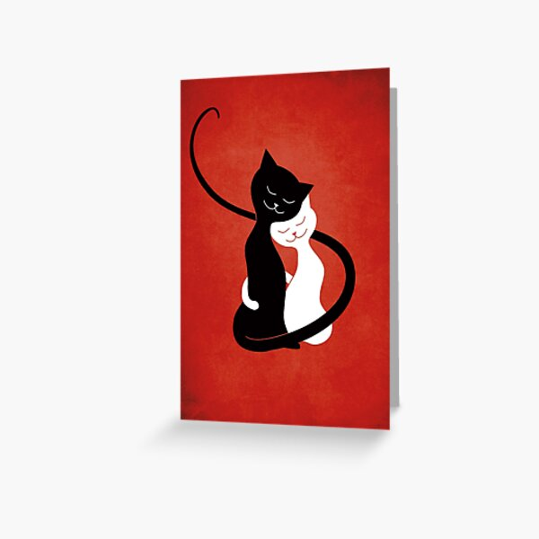 Cats In Love - Black And White Kitty Hug On Red Greeting Card