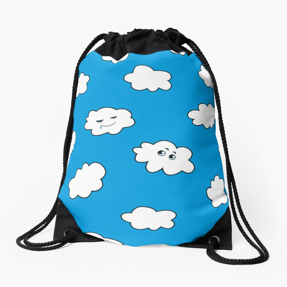 Blue Sky Happy Funny Clouds  Drawstring Bag