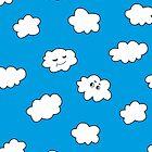 Blue Sky Happy Funny Clouds  by Boriana Giormova