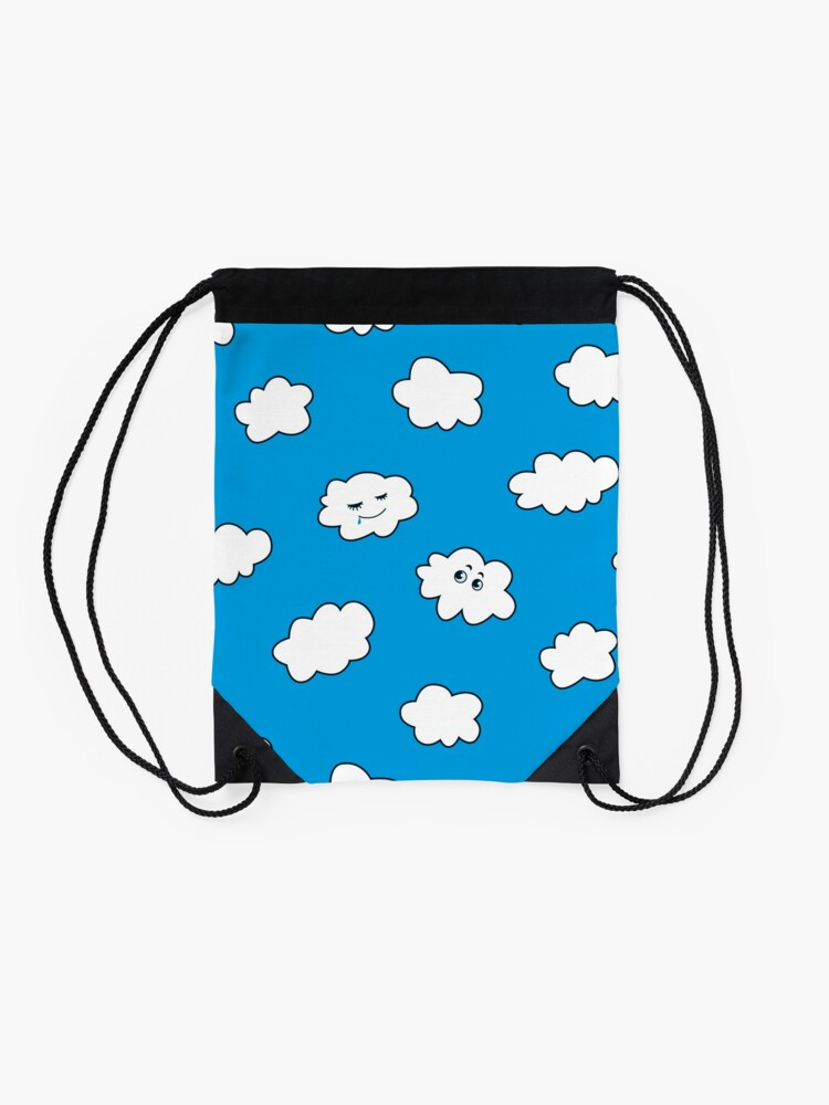 Alternate view of Blue Sky Happy Funny Clouds  Drawstring Bag