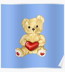 Blue Cute Teddy Bear Poster