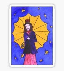 Beautiful girl with umbrella Sticker