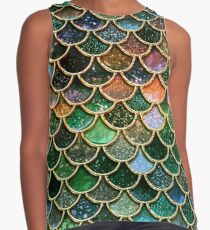 Green Sparkle Faux Glitter Mermaid Scales Contrast Tank