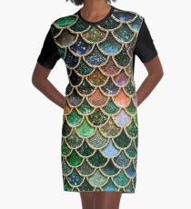 Green Sparkle Faux Glitter Mermaid Scales Graphic T-Shirt Dress