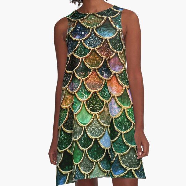 Green Sparkle Faux Glitter Mermaid Scales A-Line Dress