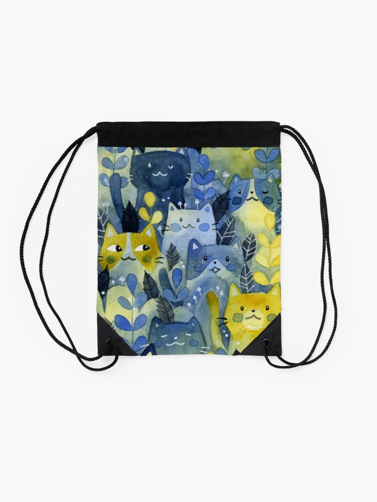 Alternate view of kitty forest Drawstring Bag