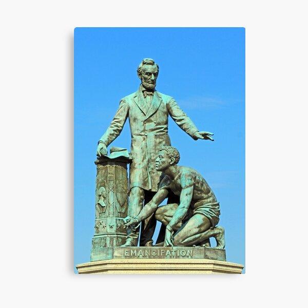 Abraham Lincoln Freeing A Slave At The Emancipation Memoria -- 3 Canvas Print