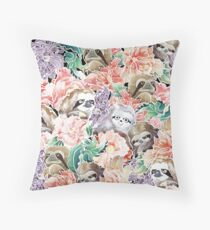 Beacuse Sloths Watercolor Throw Pillow