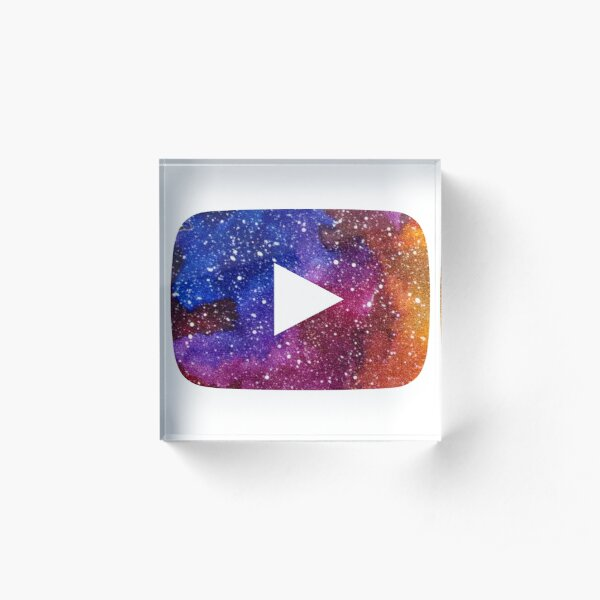 YouTube Play Button Space 2 Acrylic Block