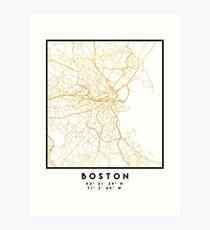 BOSTON MASSACHUSETTS CITY STREET MAP ART Art Print