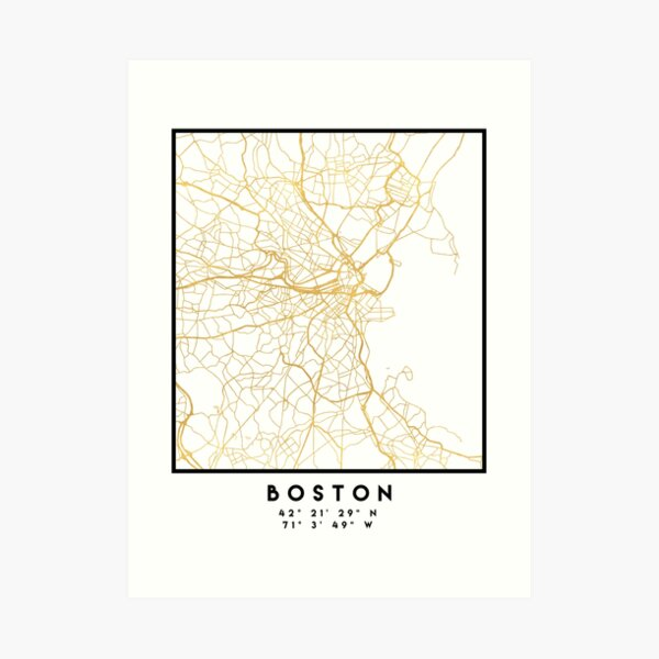 BOSTON MASSACHUSETTS CITY STREET MAP ART Art Print