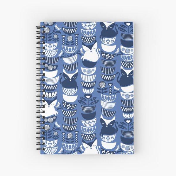 Swedish folk cats I // indigo blue background Spiral Notebook