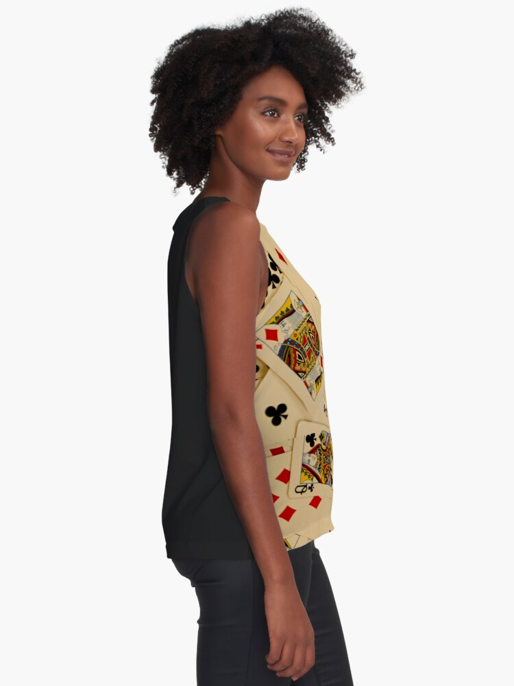Alternate view of Scattered Pack of Playing Cards Hearts Clubs Diamonds Spades Pattern Sleeveless Top
