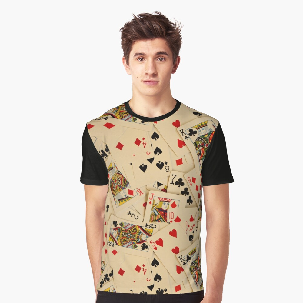 Scattered Pack of Playing Cards Hearts Clubs Diamonds Spades Pattern Graphic T-Shirt