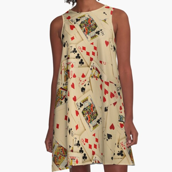 Scattered Pack of Playing Cards Hearts Clubs Diamonds Spades Pattern A-Line Dress