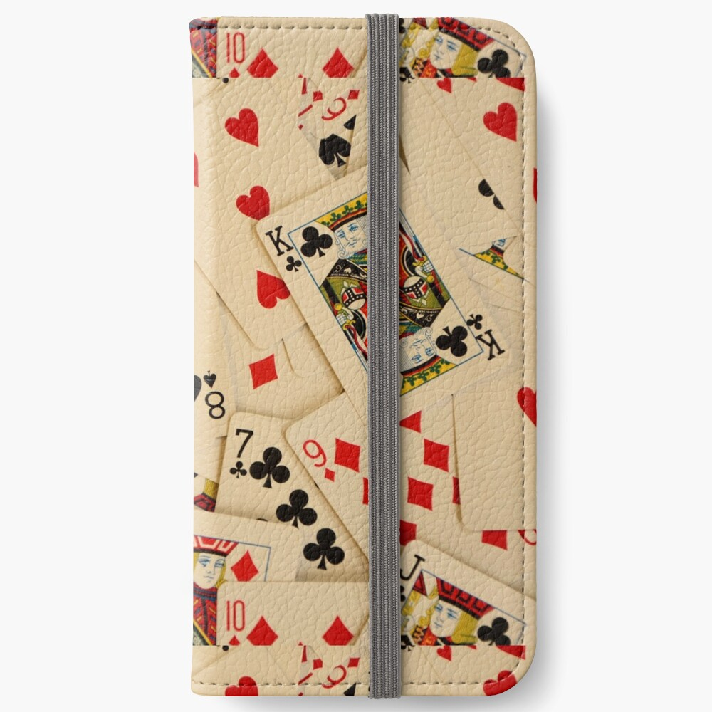 Scattered Pack of Playing Cards Hearts Clubs Diamonds Spades Pattern iPhone Wallet