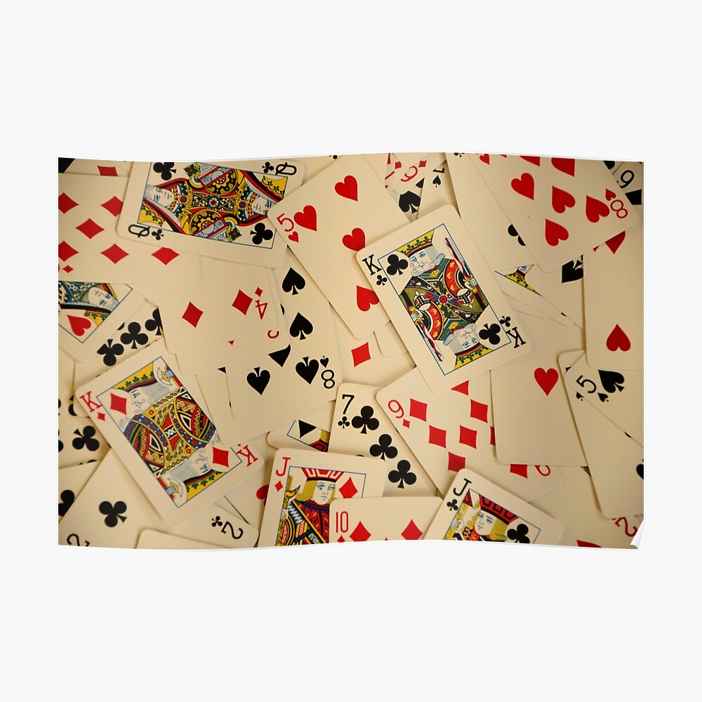 Scattered Pack of Playing Cards Hearts Clubs Diamonds Spades Pattern Poster