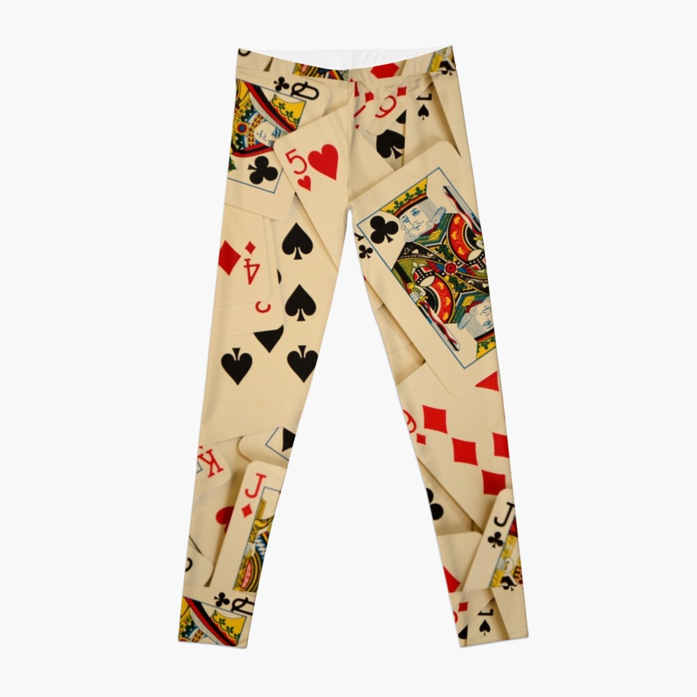 Scattered Pack of Playing Cards Hearts Clubs Diamonds Spades Pattern Leggings