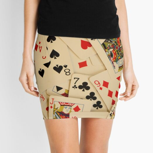 Scattered Pack of Playing Cards Hearts Clubs Diamonds Spades Pattern Mini Skirt